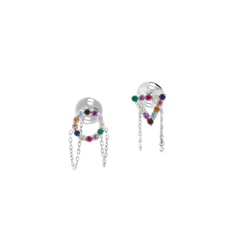 Multi Colour Earrings in 18ct White Gold with Gemstones