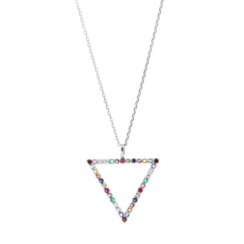 Multi Colour Pendant Necklace in 18ct White Gold with Gemstones