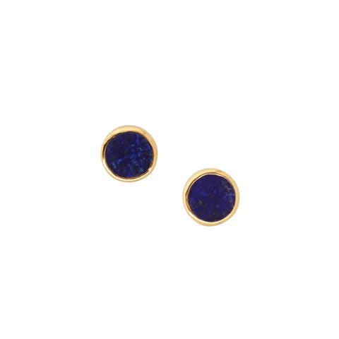 Yellow Gold Earrings with Lapis