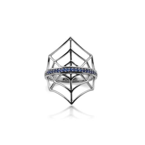 White Gold Web Ring With Blue Sapphire