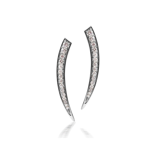 White Gold  Fang Earrings