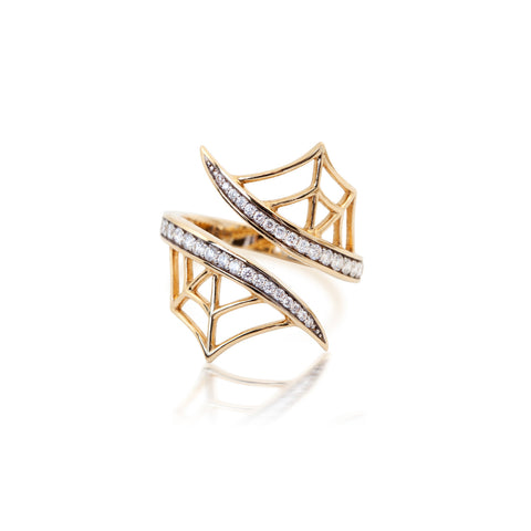 Yellow Gold Web Ring