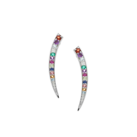 Multi Colour Fang Earrings in 18ct White Gold with Gemstones.