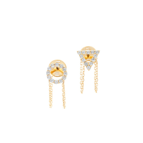 March Aquamarine Earrings in 18ct Gold with Stones