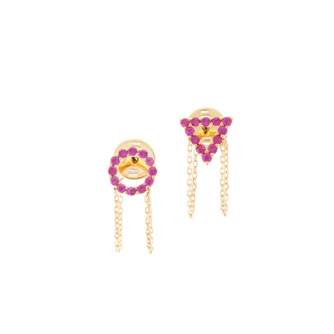 July Ruby earrings in 18ct Gold with ruby Stones