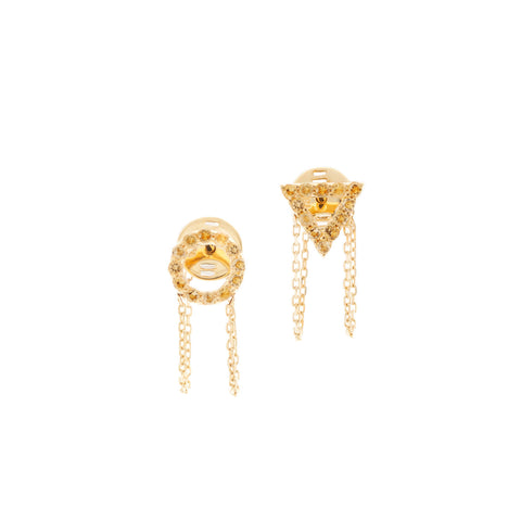 November Citrine Earrings in 18ct Gold with Stones