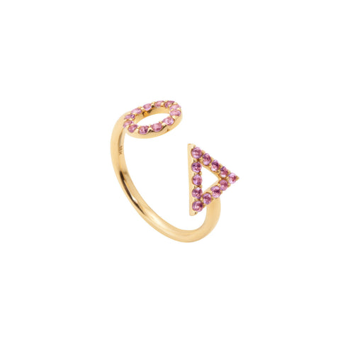 February Amethyst Ring in 18ct Gold with Stones, adjustable