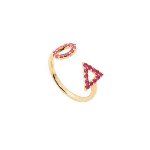July Ruby Ring in 18ct Gold with ruby Stones