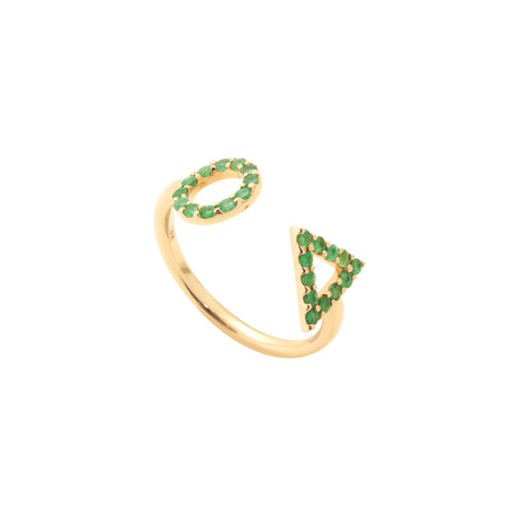 May Emerald Ring in 18ct Gold with Stones adjustable