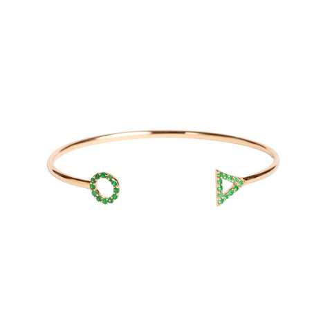 May Emerald Bracelet in 18ct Gold with Stones adjustable