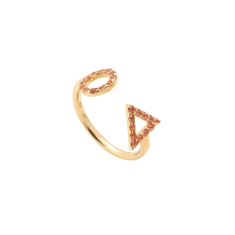 October Pink Tourmaline Ring in 18ct Gold Stones, adjustable