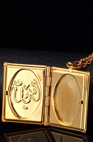 Gold Islamic Floating Locket Necklace