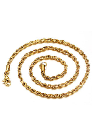 Gold 3mm Rope Necklace