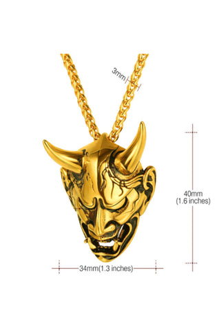 Gold Demon Mask Necklace