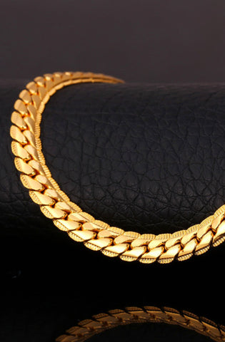 Gold 9mm Cuban Link Miami Style Necklace