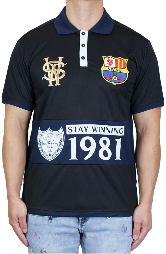 Stay Winning Black/Navy Soccer Polo Tee