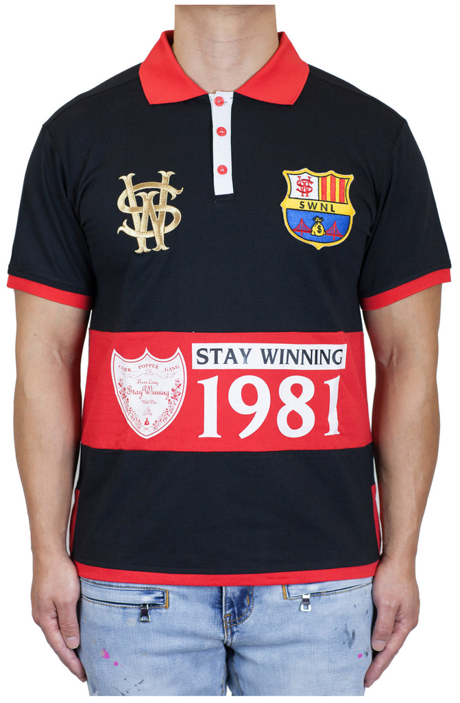 Stay Winning Black/Red Soccer Polo Tee