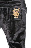 Stay Winning Embroidered Velour Black Joggers