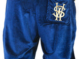 Stay Winning Embroidered Velour Blue Joggers