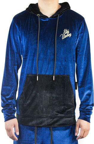 Stay Winning Embroidered Velour Blue Hoodie