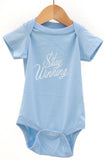 Stay Winning Baby Blue Infant Onesie