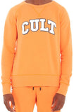 Cult Of Individuality Crew Neck Fleece W/ Collegiate Font (Orange)