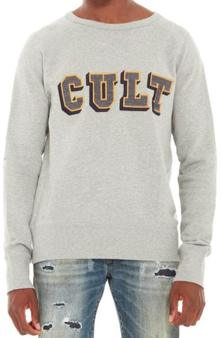 Cult Of Individuality Crew Neck Fleece W/ Collegiate Font (Heather Grey)