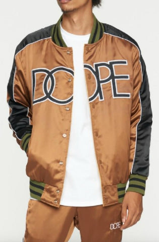 Dope Sideline Reversible Satin Bomber Brown/Army/Orange