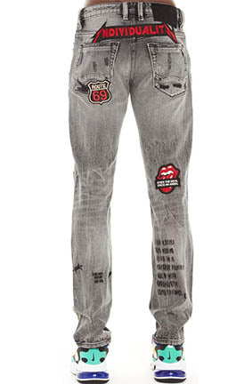 Cult Of Individuality Rocker Slim Graffiti Denim (Black Acid)