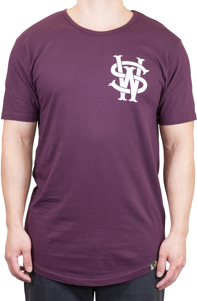 Stay Winning Original Logo Maroon Elongated Scoop Tee