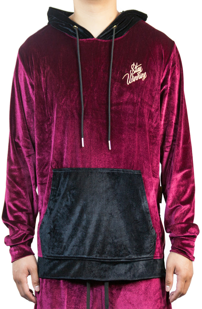 Stay Winning Embroidered Velour Maroon Hoodie