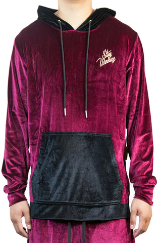 Stay Winning Embroidered Velour Maroon Joggers
