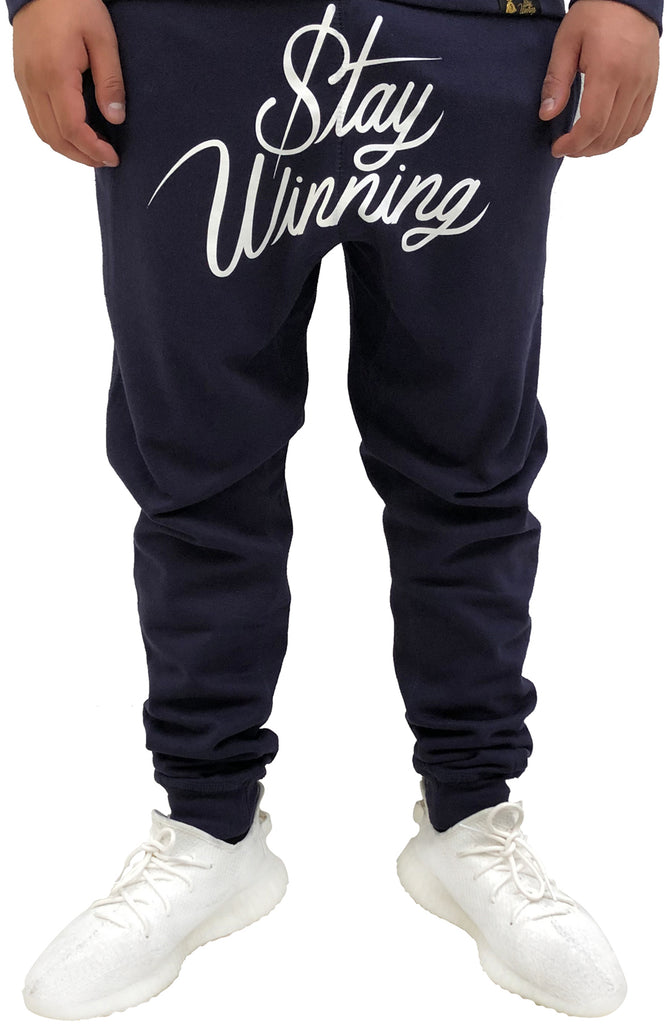 Stay Winning Script Navy/White Joggers