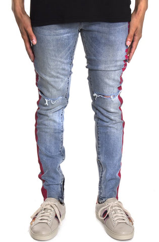 Homme + Femme Striped Black Denim w/Red Stripe