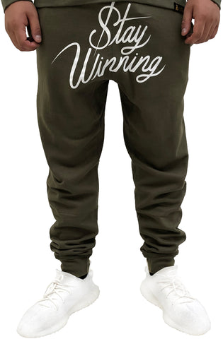 Stay Winning Script Olive/White Joggers
