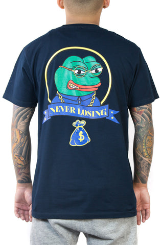 Stay Winning Never Losing Pepe Navy Tee