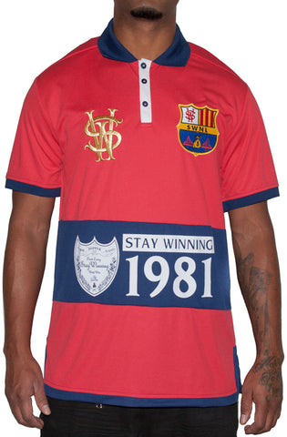 Stay Winning Red/Navy Soccer Polo Tee