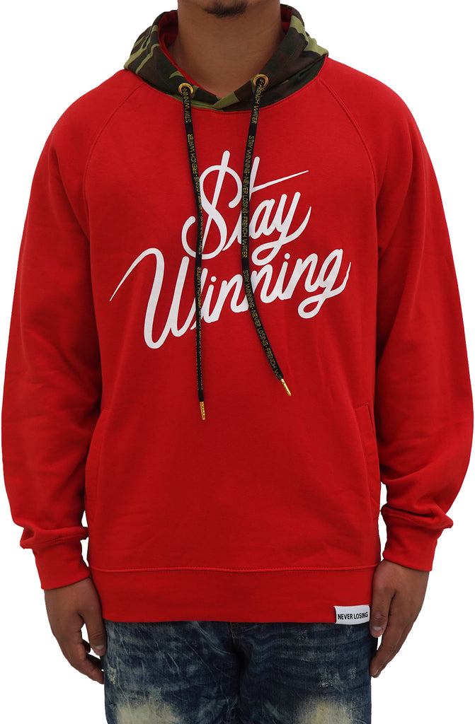Stay Winning Script Red/White Camo Hoodie