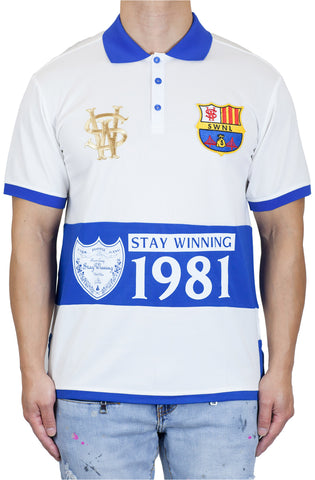 Stay Winning Cream/Royal Soccer Polo Tee