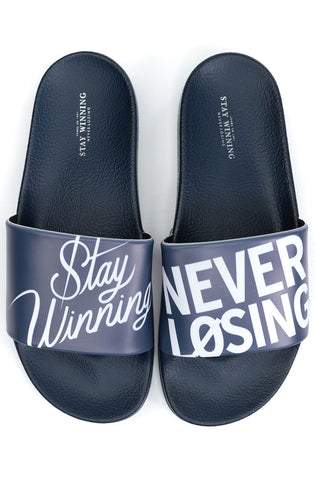 Stay Winning Never Losing Navy Slides