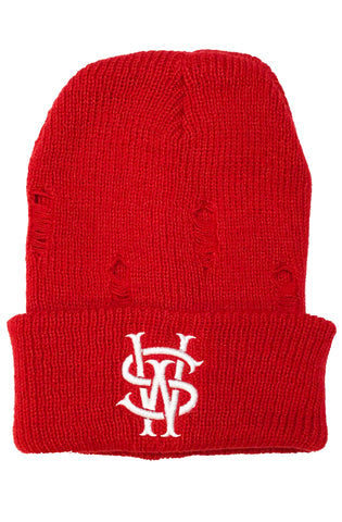 Stay Winning SW Distressed Red Beanie