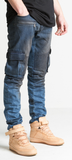 EMBELLISH BLUE VINTAGE WASH CHARGER CARGO BIKER DENIM - Stay Winning Boutique - 2