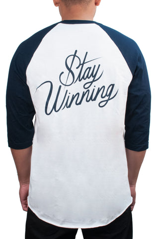 Stay Winning White/Navy Baseball Tee