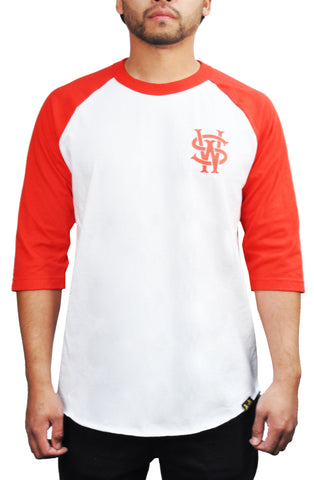 Stay Winning White/Red Baseball Tee