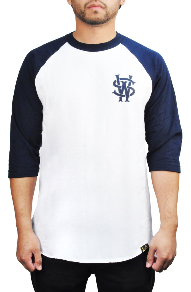 STAY WINNING WHITE/NAVY BASEBALL TEE - Stay Winning Boutique - 1