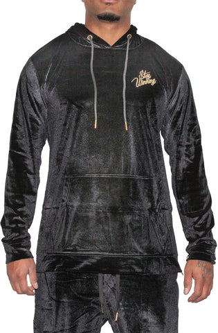 Stay Winning Embroidered Velour Black Hoodie