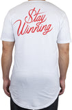 Stay Winning Original Logo White/Red Elongated Scoop Tee