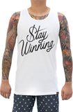 Stay Winning Script White Tank Top