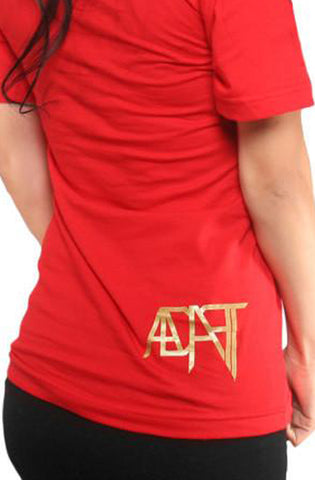 Adapt Gold Blooded Women's Red V-Neck Tee