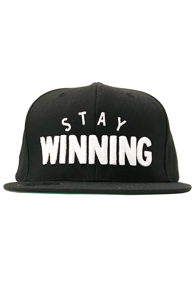 Stay Winning Black/White Snap Back Hat